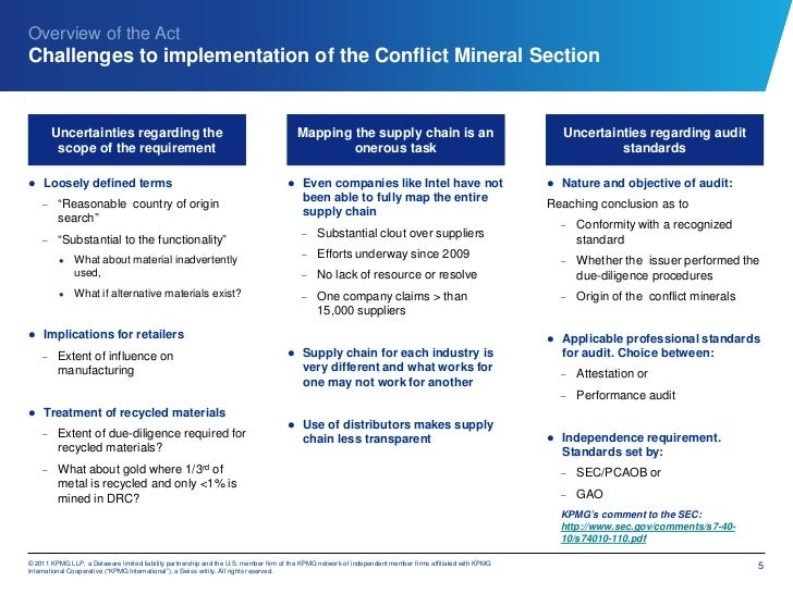 Overview of the ActChallenges to implementation of the Conflict Mineral Section        Uncertainties regarding the        ...