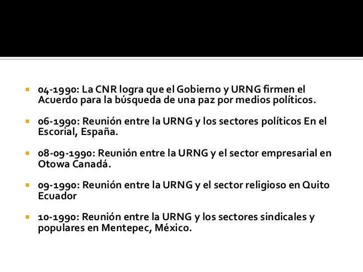 04-1990: La CNR logra que el Gobierno y URNG firmen el Acuerdo para la búsqueda de una paz por medios políticos.<br />06-1...
