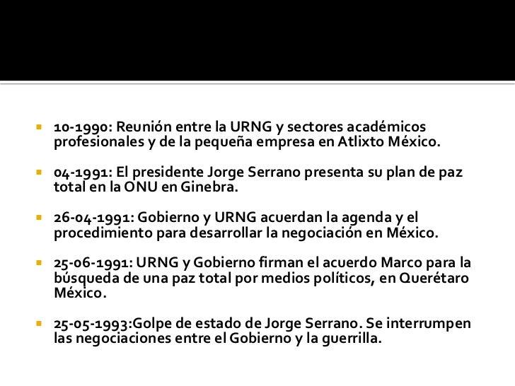 10-1990: Reunión entre la URNG y sectores académicos profesionales y de la pequeña empresa en Atlixto México.<br />04-1991...