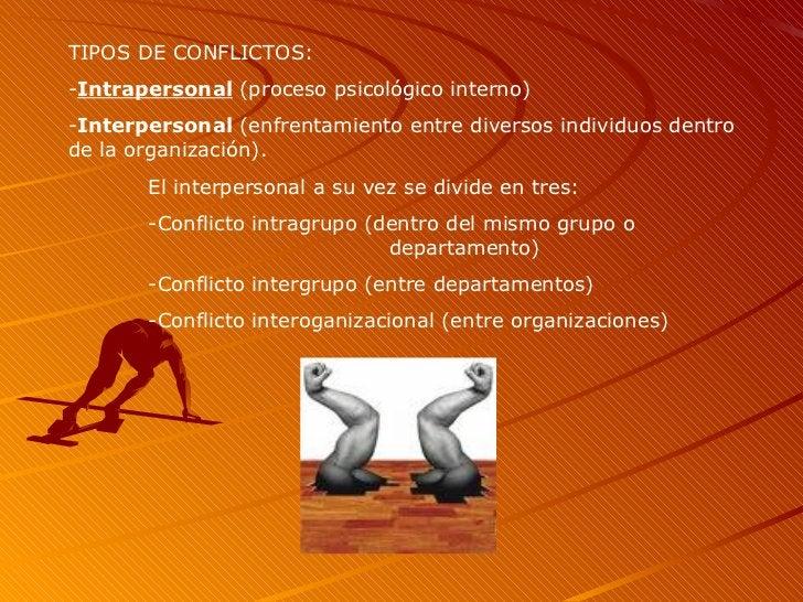 TIPOS DE CONFLICTOS: - Intrapersonal  (proceso psicológico interno) - Interpersonal  (enfrentamiento entre diversos indivi...