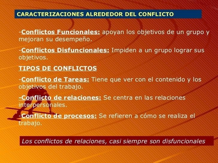 CARACTERIZACIONES ALREDEDOR DEL CONFLICTO - Conflictos Funcionales:  apoyan los objetivos de un grupo y mejoran su desempe...