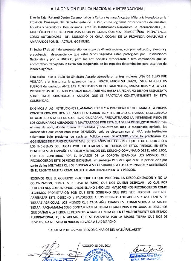 A IA OPINION PUBLICA NACIOI.JA!- e iI.iTERNAClCINAt ElAyllu Tajar Pallareti Centro Ceremonial de la Cultura Aymara Ancestr...