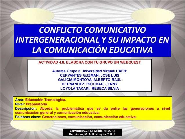 CONFLICTO COMUNICATIVO INTERGENERACIONAL Y SU IMPACTO EN LA COMUNICACIÓN EDUCATIVA ACTIVIDAD 4.8. ELABORA CON TU GRUPO UN ...