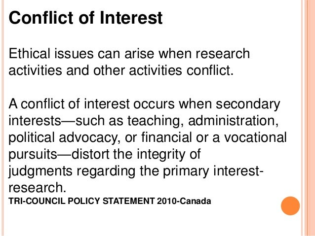 conflict of interest in research papers