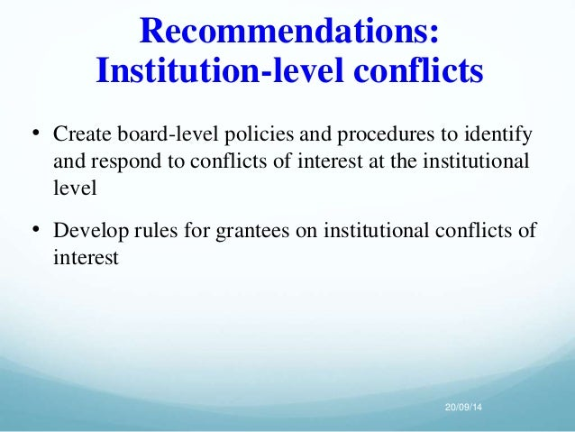an analysis of the conflict of interest inherent in administrative review Because of the nature of their work, there is understood to be an inherent conflict of interest risk for inspectors in federal in 2003, the federal government introduced a value and ethics code for the public service for the core public administration.