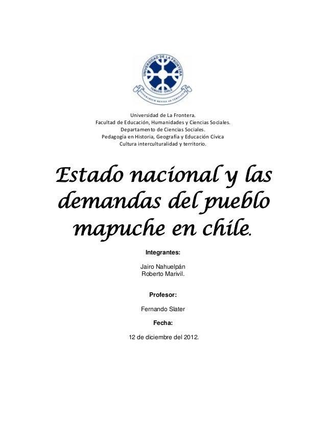 Universidad de La Frontera.   Facultad de Educación, Humanidades y Ciencias Sociales.             Departamento de Ciencias...