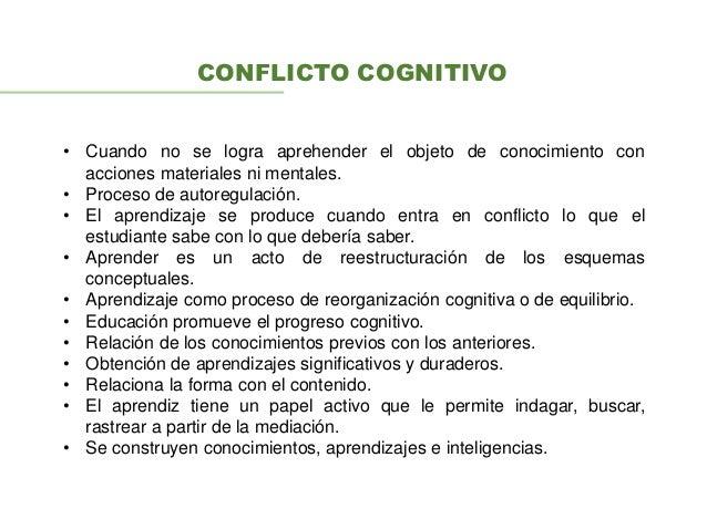 CONFLICTO COGNITIVO • Cuando no se logra aprehender el objeto de conocimiento con acciones materiales ni mentales. • Proce...