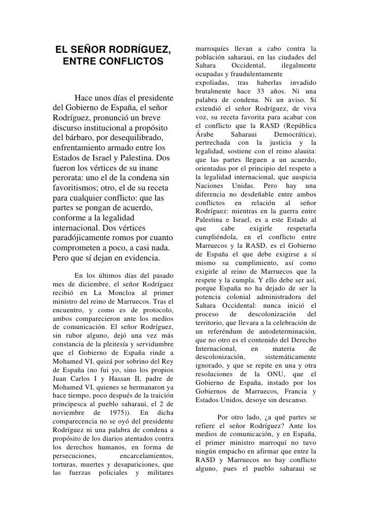 marroquíes llevan a cabo contra la EL SEÑOR RODRÍGUEZ,                                             población saharaui, en ...