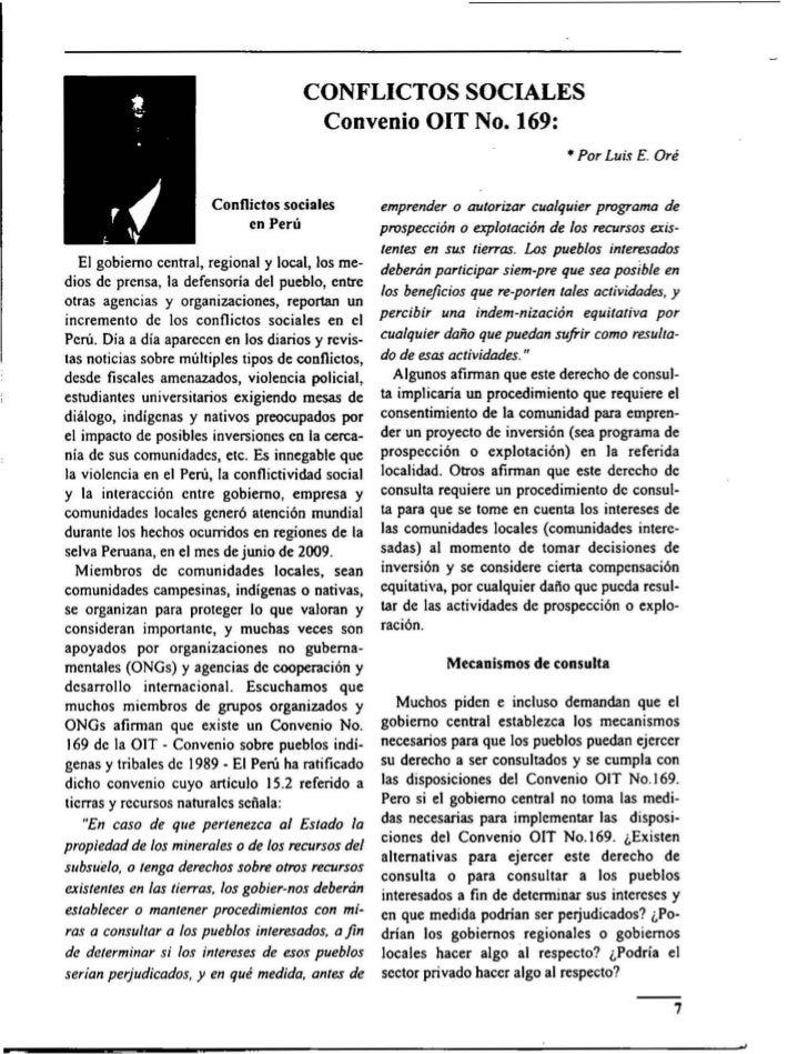 CONFLICTOS SOCIALES                                        Convenio OIT No. 169:                                          ...