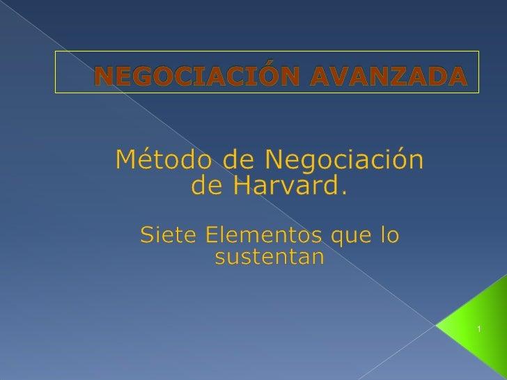 NEGOCIACIÓN AVANZADA<br />Método de Negociación de Harvard. <br />Siete Elementos que lo sustentan <br />1<br />