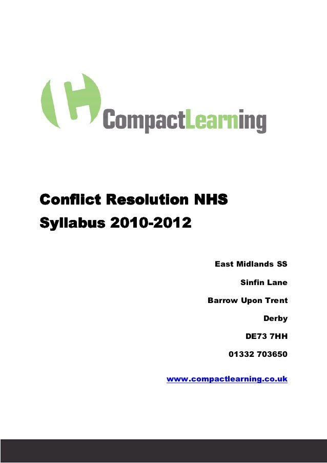Conflict Resolution NHS          Syllabus 2010-2012                   2010-                                               ...