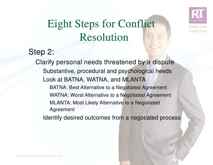 Eight Steps for Conflict            ResolutionStep 2: Clarify personal needs threatened by a dispute   Substantive, proced...