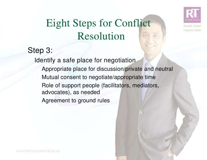 Eight Steps for Conflict            ResolutionStep 3: Identify a safe place for negotiation   Appropriate place for discus...