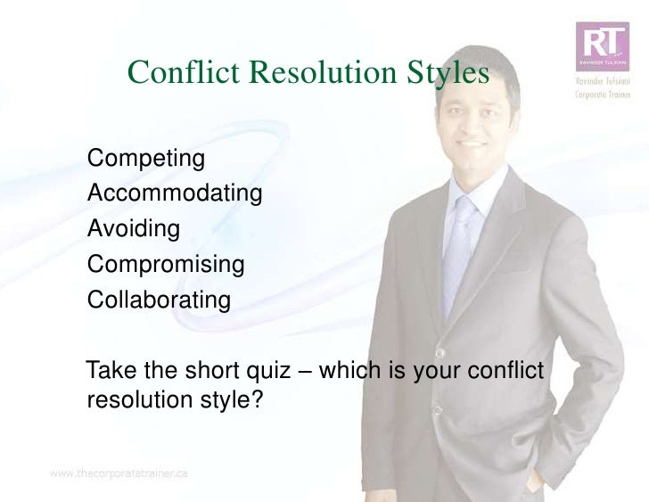 Conflict Resolution StylesCompetingAccommodatingAvoidingCompromisingCollaboratingTake the short quiz – which is your confl...