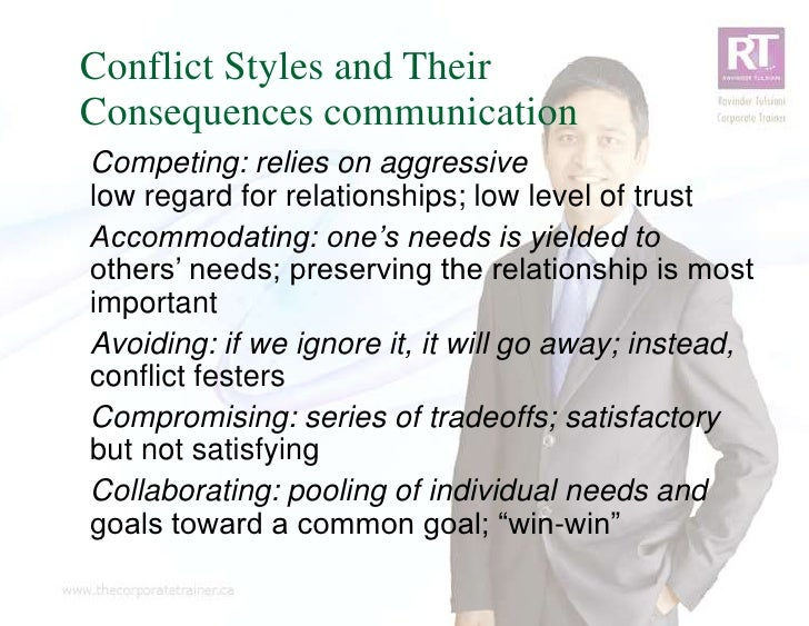 Conflict Styles and TheirConsequences communicationCompeting: relies on aggressivelow regard for relationships; low level ...