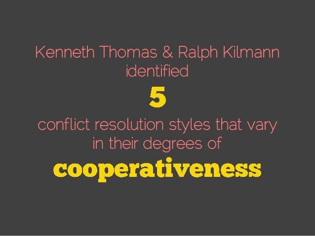 Kenneth Thomas & Ralph Kilmann identified conflict resolution styles that vary in their degrees of