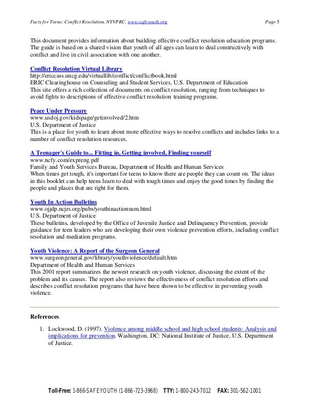 conflict resolution resources for teachers