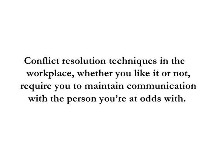 conflict resolution in the workplace pdf