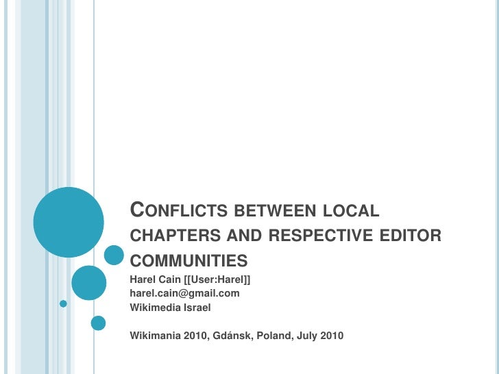 Conflicts between local chapters and respective editor communities<br />Harel Cain [[User:Harel]]<br />harel.cain@gmail.co...