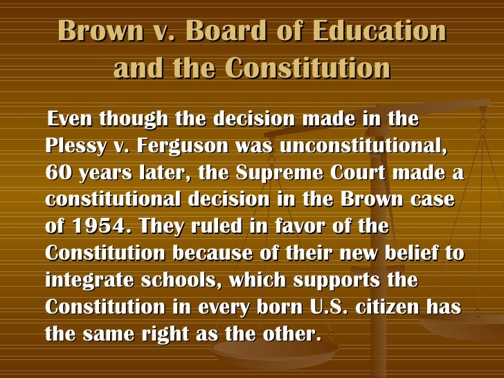thesis for brown v board of education The supreme court case of brown v board of education dates back to 1954, the case was centered on the fourteenth amendment and challenged the segregation of schools solely on the basis of race.