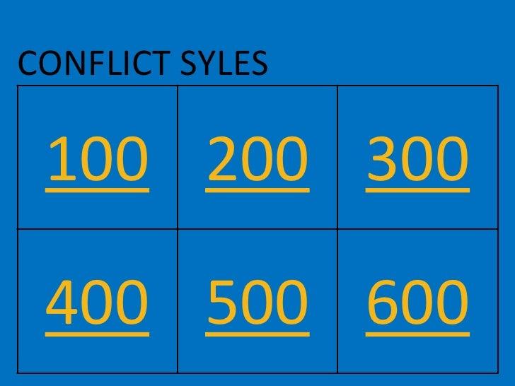 CONFLICT SYLES   100 200 300   400 500 600