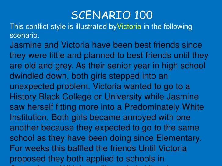 SCENARIO 100 This conflict style is illustrated byVictoria in the following scenario. Jasmine and Victoria have been best ...