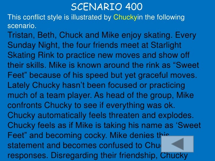 SCENARIO 400 This conflict style is illustrated by Chuckyin the following scenario. Tristan, Beth, Chuck and Mike enjoy sk...