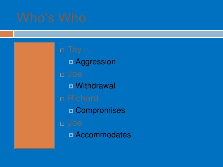 """Who""""s Who          Tay….           Aggression          Joe           Withdrawal          Richard           Compromis..."""