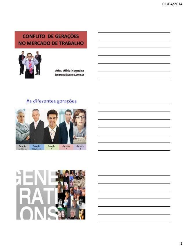 01/04/2014 1 NO MERCADO DE TRABALHO CONFLITO DE GERAÇÕES