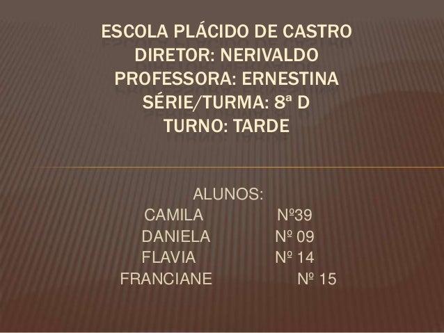 ESCOLA PLÁCIDO DE CASTRO DIRETOR: NERIVALDO PROFESSORA: ERNESTINA SÉRIE/TURMA: 8ª D TURNO: TARDE  ALUNOS: CAMILA Nº39 DANI...