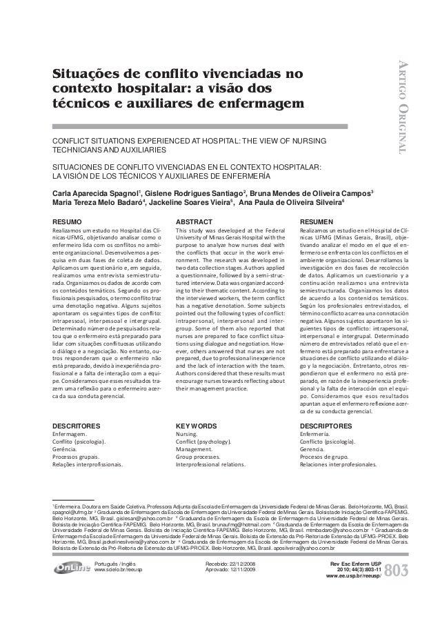 803 Rev Esc Enferm USP 2010; 44(3):803-11 www.ee.usp.br/reeusp/ Situações de conflito vivenciadas no contexto hospitalar: ...