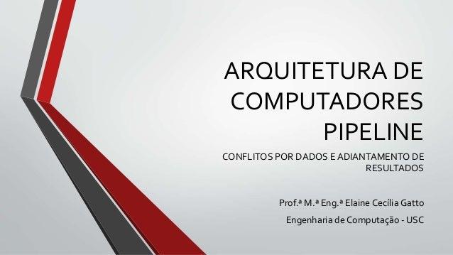 ARQUITETURA DE COMPUTADORES PIPELINE CONFLITOS POR DADOS E ADIANTAMENTO DE RESULTADOS Prof.ª M.ª Eng.ª Elaine Cecília Gatt...