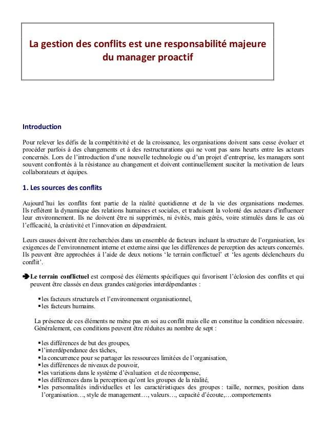 La gestion des conflits est une responsabilité majeure                   du manager proactifIntroductionPour relever les d...