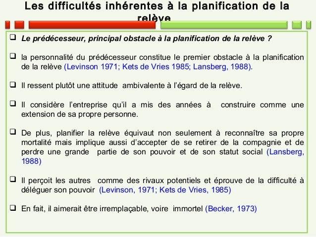 Les difficultés inhérentes à la planification de la relève  Le prédécesseur, principal obstacle à la planification de la ...