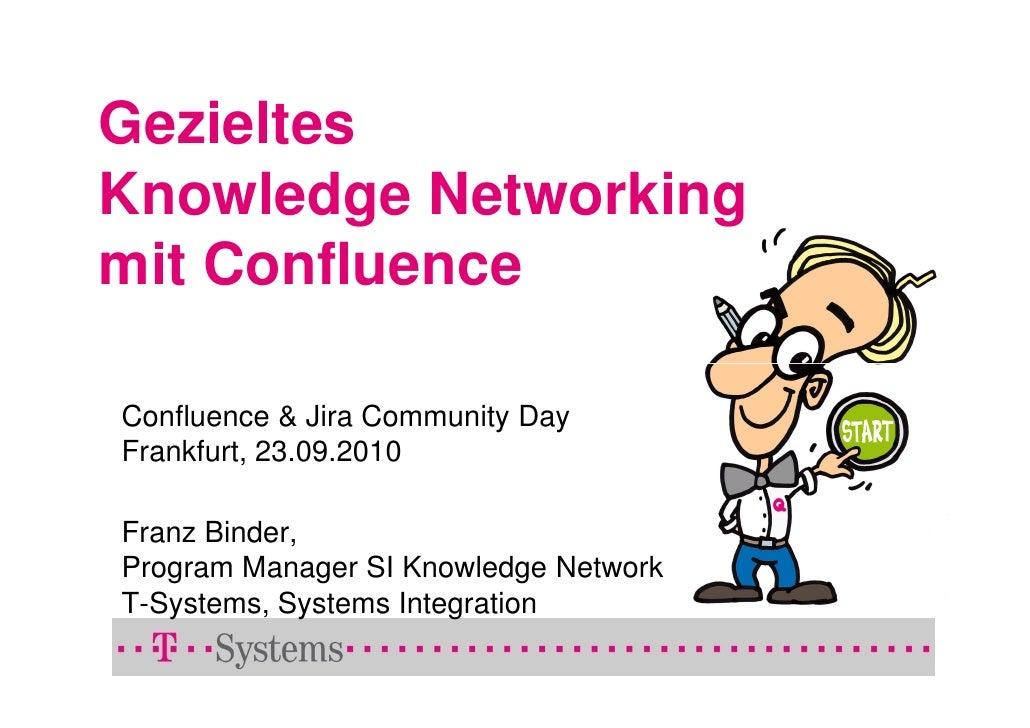 Gezieltes Knowledge Networking mit Confluence  Confluence & Jira Community Day Frankfurt, 23.09.2010  Franz Binder, Progra...