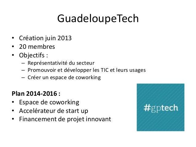 GuadeloupeTech • Création juin 2013 • 20 membres • Objectifs : – Représentativité du secteur – Promouvoir et développer le...