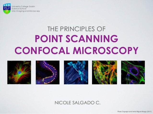 THE PRINCIPLES OF POINT SCANNING CONFOCAL MICROSCOPY  NICOLE SALGADO C.  University College Dublin Science School MSc Imag...