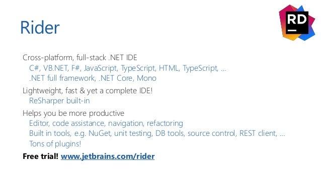 Rider Cross-platform, full-stack .NET IDE C#, VB.NET, F#, JavaScript, TypeScript, HTML, TypeScript, … .NET full framework,...