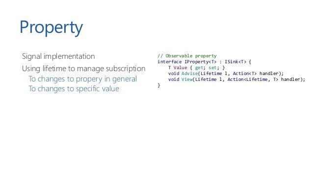 Primitives Primitive Description Signal Event that is fired when something happens Property Observable value List/set/map ...