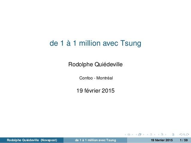 de 1 à 1 million avec Tsung Rodolphe Quiédeville Confoo - Montréal 19 février 2015 Rodolphe Quiédeville (Novapost) de 1 à ...