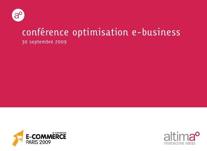 conférence optimisation e-business 30 septembre 2009
