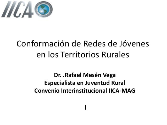 Conformación de Redes de Jóvenes en los Territorios Rurales Dr. .Rafael Mesén Vega Especialista en Juventud Rural Convenio...