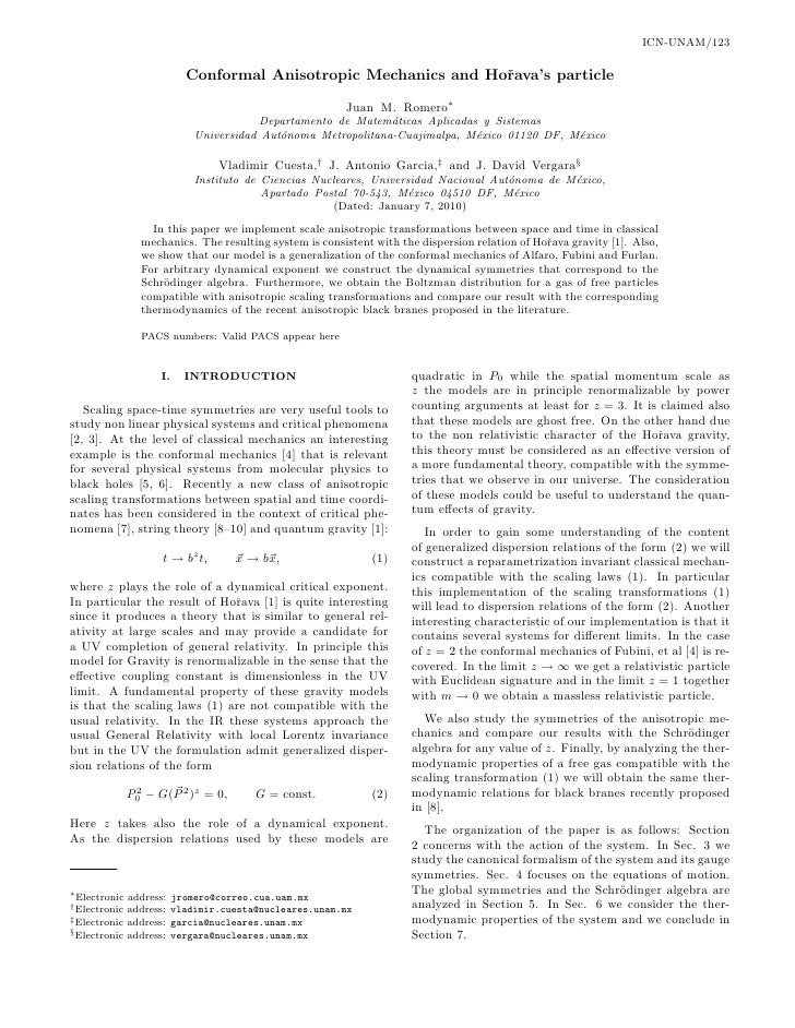 ICN-UNAM/123                              Conformal Anisotropic Mechanics and Hoˇava's particle                           ...