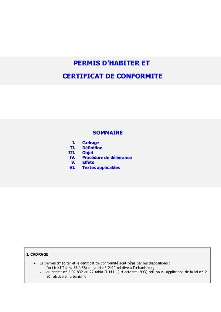 PERMIS D'HABITER ET                    CERTIFICAT DE CONFORMITE                                      SOMMAIRE             ...