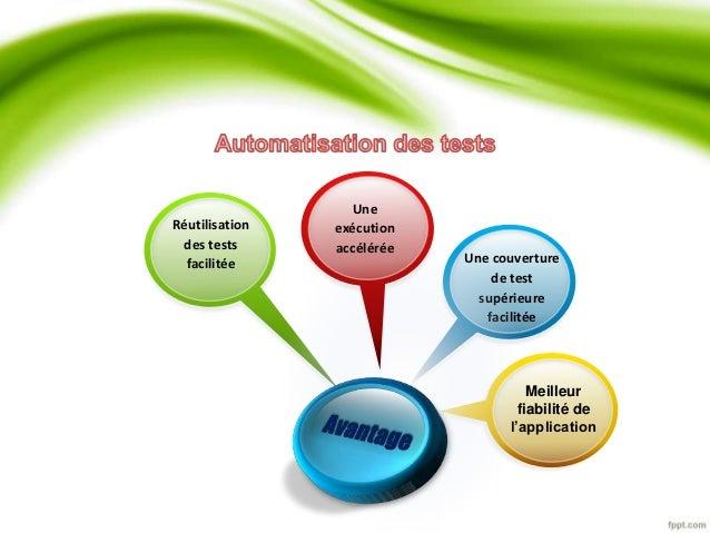Réutilisation  des tests  facilitée Une couverture  de test  supérieure  facilitée  Meilleur  fiabilité de  l'application ...