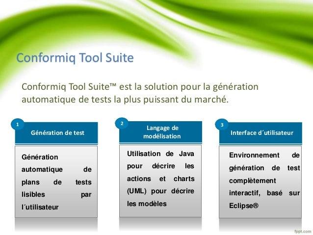 Conformiq Tool Suite  Conformiq Tool Suite™ est la solution pour la génération  automatique de tests la plus puissant du m...