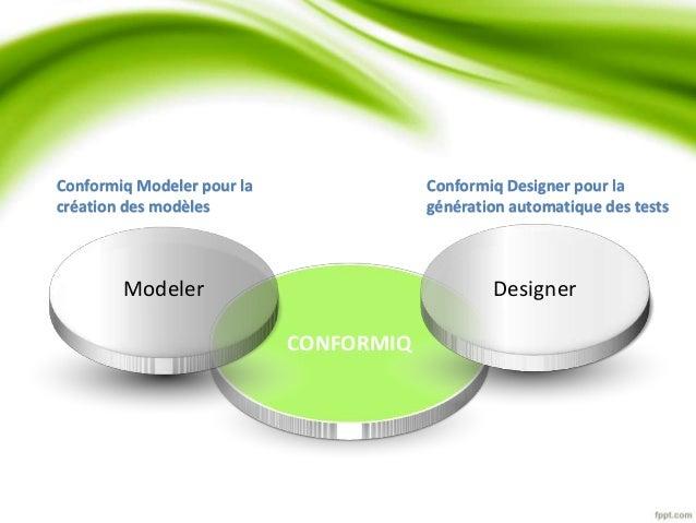 Modeler Designer  CONFORMIQ  Conformiq Modeler pour la  création des modèles  Conformiq Designer pour la  génération autom...