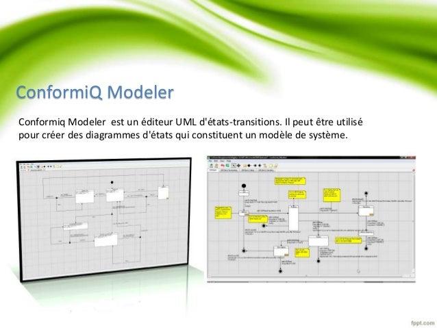 ConformiQ Modeler  Conformiq Modeler est un éditeur UML d'états-transitions. Il peut être utilisé  pour créer des diagramm...