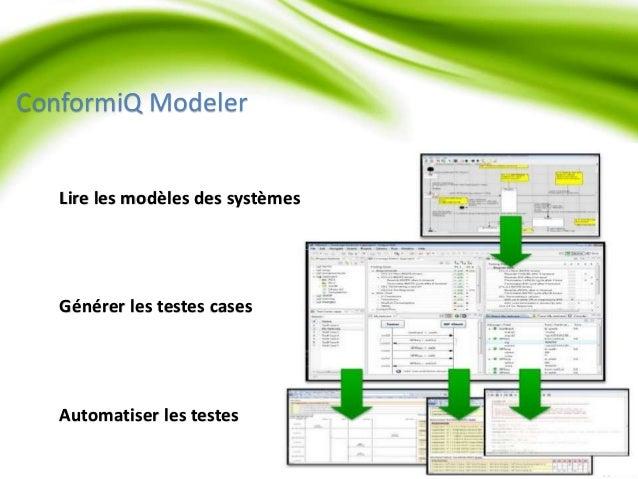 ConformiQ Modeler  Lire les modèles des systèmes  Générer les testes cases  Automatiser les testes