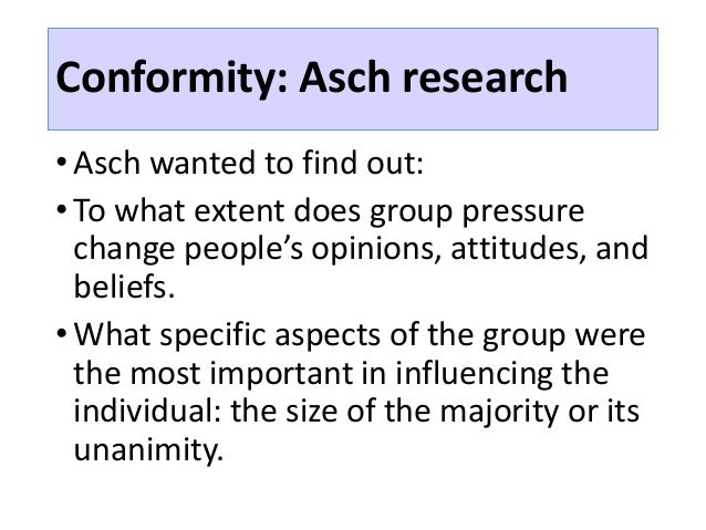 solomon asch experiment a study of conformity essay The asch experiment shows how people are by solomon asch, was a famous experiment designed to test how peer pressure to that peer pressure can cause conformity.